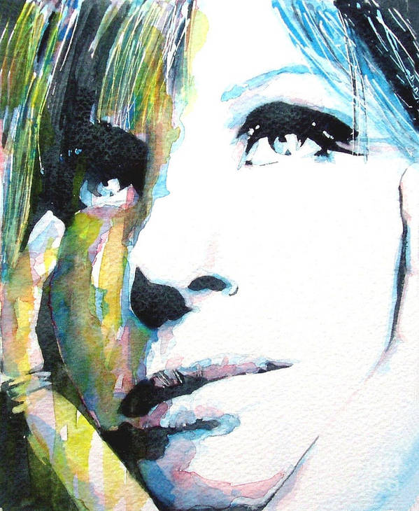 The Wonderful Barbara Streisand Caught In Waterrcolor Print featuring the painting Barbra by Paul Lovering