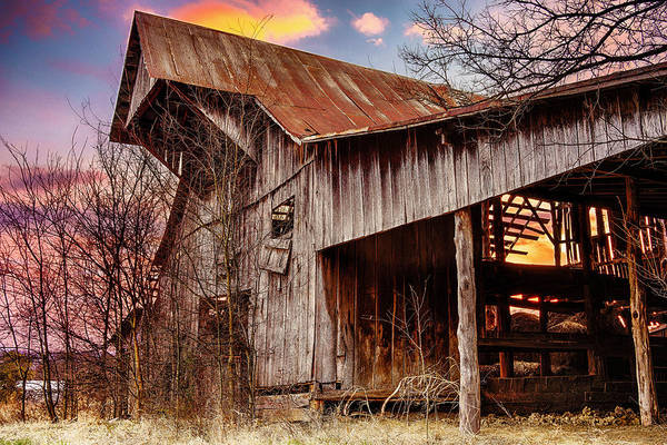 Barn Print featuring the photograph Barn At Sunset by Brett Engle