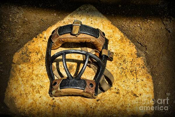 Paul Ward Print featuring the photograph Baseball Catchers Mask Vintage by Paul Ward