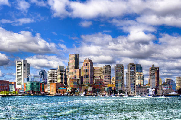 Boston Print featuring the photograph Beautiful Boston Skyline From The Harbor by Mark E Tisdale