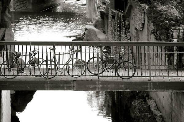 Waller Creek Photograph Print featuring the photograph Bikes Over Waller Creek by Kristina Deane