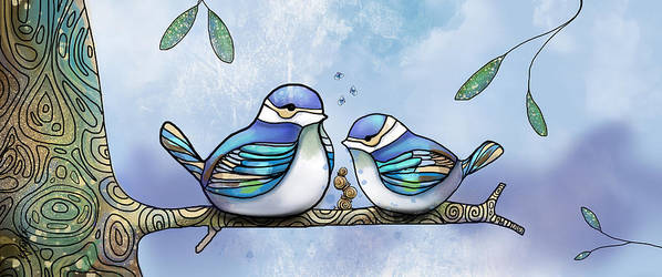 Birds Of Blue Print featuring the painting Birds Of Blue by Karin Taylor