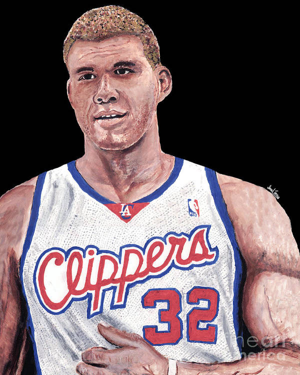 Blake Griffin Print featuring the painting Blake Griffin by Israel Torres