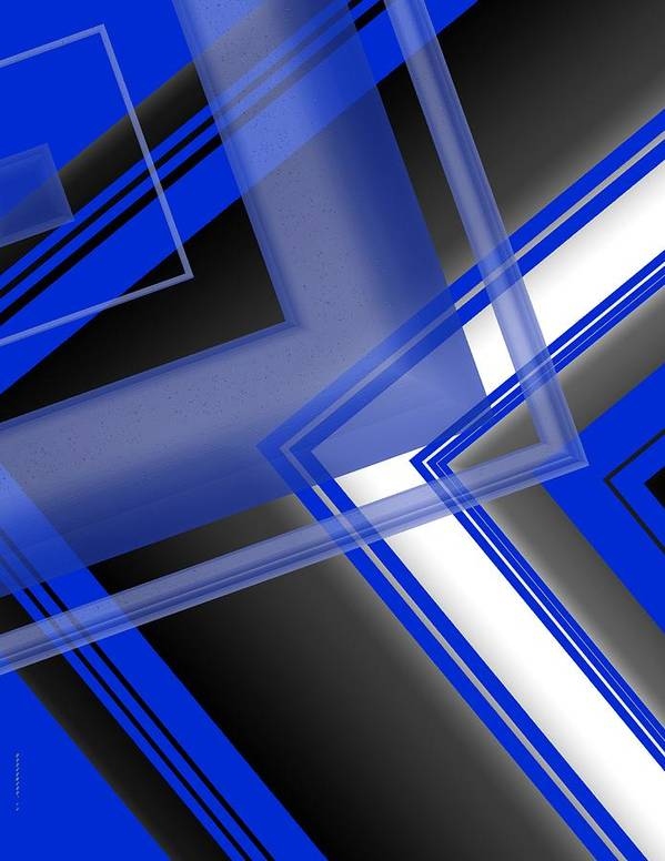 Blue Print featuring the digital art Blue And White Geometric Art by Mario Perez