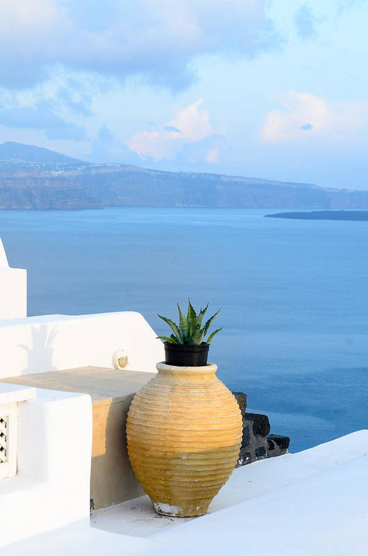 Greece Print featuring the photograph Blue And White by Zoomclickboom Studio