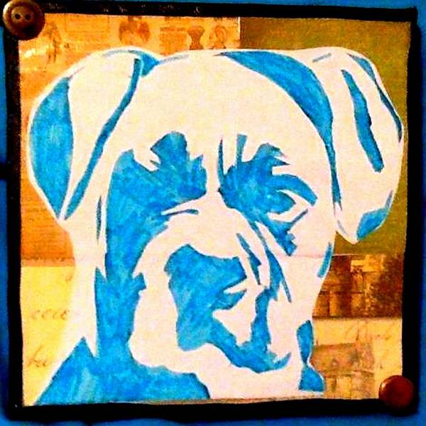 Boxer Print featuring the drawing Blue Boxer by Ashley Reign
