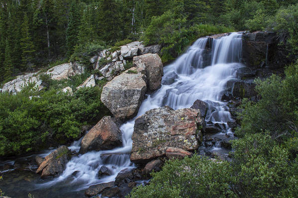 Landscape Print featuring the photograph Blue Lake Falls by Michael J Bauer
