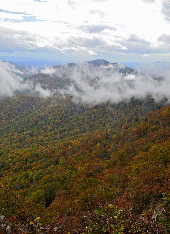 Mountains Print featuring the photograph Blue Ridge Parkway Mountain View by Susan Leggett