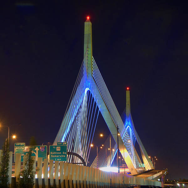 Boston Print featuring the photograph Blue Zakim by Joann Vitali
