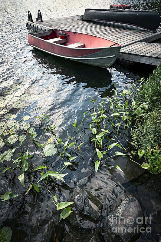 Boat Print featuring the photograph Boat At Dock On Lake by Elena Elisseeva