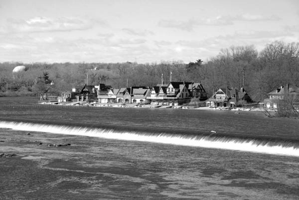 Boathouse Row Print featuring the photograph Boathouse Row Winter B/w by Jennifer Ancker