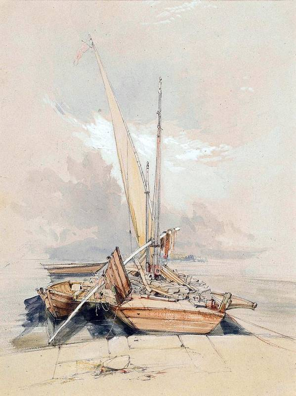 Boats Print featuring the painting Boats At Quayside Lake Geneva by James Holland