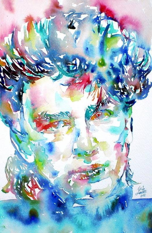 Bono Print featuring the painting Bono Watercolor Portrait.1 by Fabrizio Cassetta