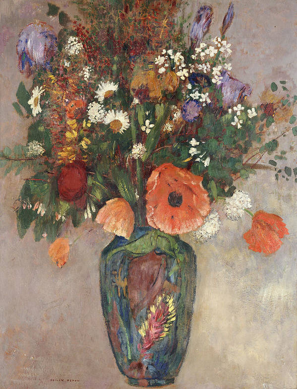 Still Life Print featuring the painting Bouquet Of Flowers In A Vase by Odilon Redon
