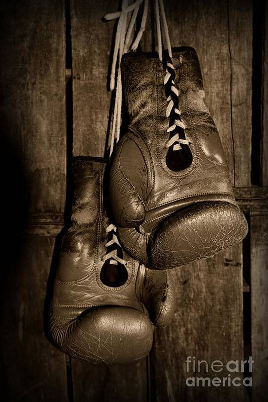 Paul Ward Print featuring the photograph Boxing Gloves Black And White by Paul Ward