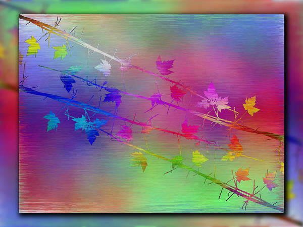 Abstract Print featuring the digital art Branches In The Mist 17 by Tim Allen