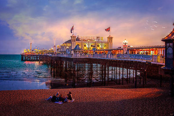 Pier Print featuring the photograph Brighton's Palace Pier At Dusk by Chris Lord