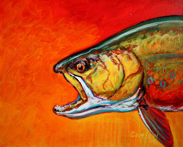 Brook Print featuring the painting Brookie Portrait by Savlen Art