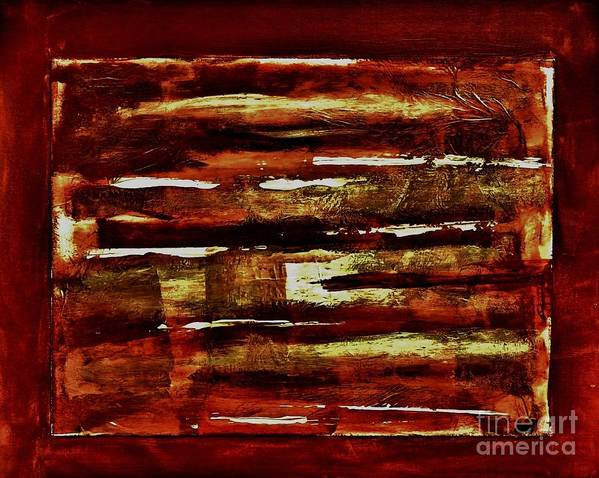 Painting Print featuring the painting Brown Red And Golds Abstract by Marsha Heiken