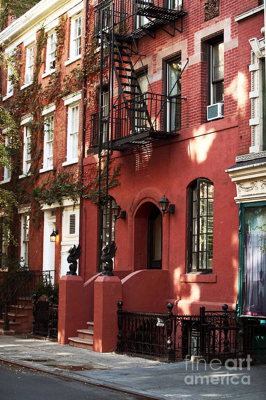 Building Print featuring the photograph Brownstone by John Rizzuto