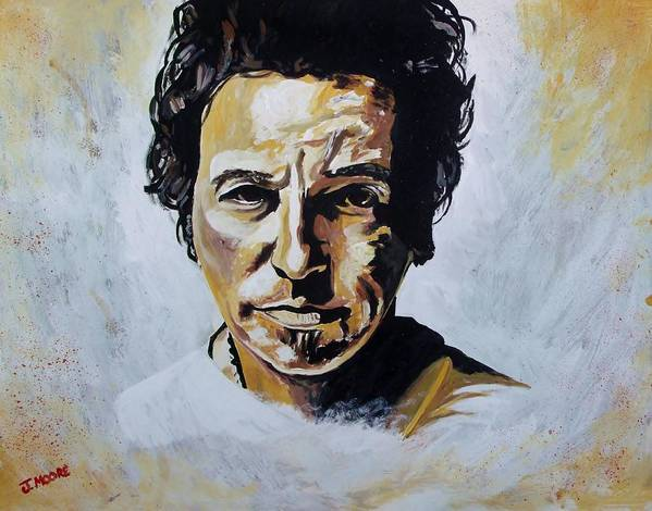 Bruce Print featuring the painting Bruce Springsteen by Jeremy Moore