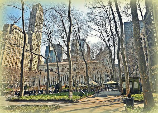 Nyc Print featuring the photograph Bryant Park Library Gardens by Tony Ambrosio