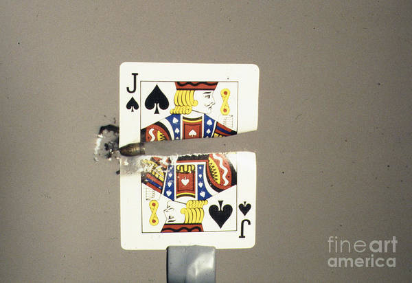 High Speed Photography Print featuring the photograph Bullet Piercing Playing Card by Gary S. Settles