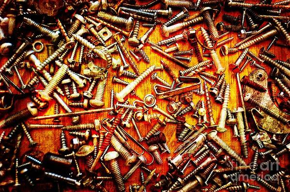Metal Print featuring the photograph Bunch Of Screws 4 - Digital Effect by Debbie Portwood