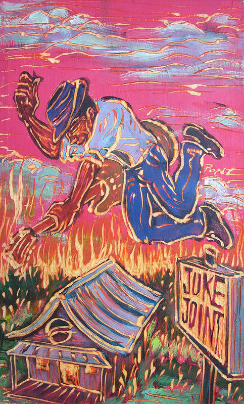 Blues Print featuring the painting Burnin' It Up by Robert Ponzio