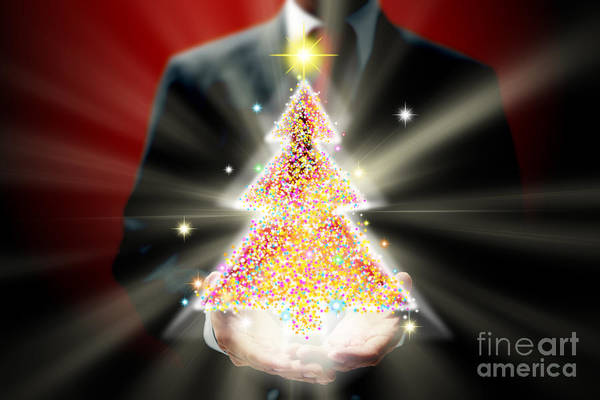 Business Print featuring the mixed media Businessman With Christmas by Atiketta Sangasaeng
