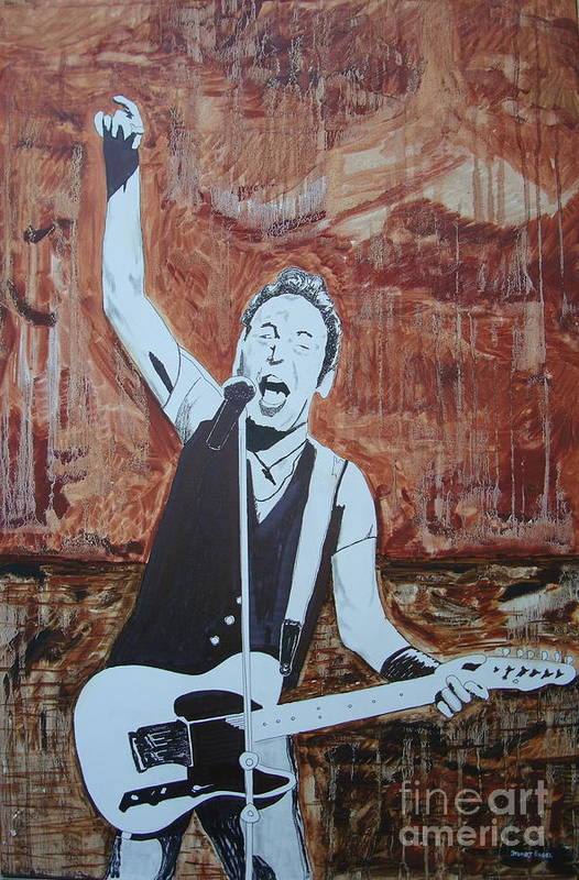 Bruce Springsteen Print featuring the painting Bust This City In Half by Stuart Engel