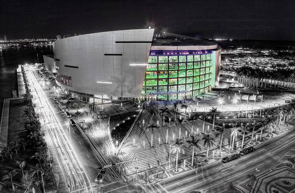 Aaa Print featuring the photograph Bw Of American Airline Arena by Joe Myeress
