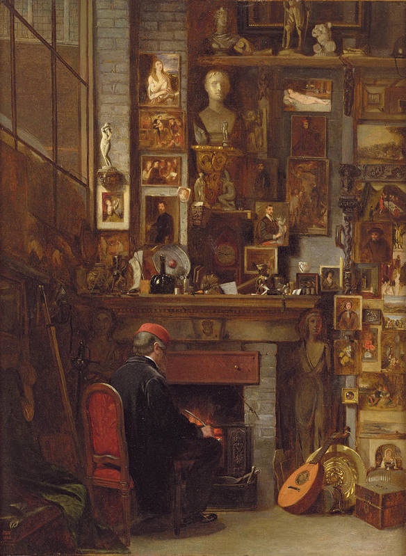 Hearth Print featuring the painting By The Studio Fire, 1860 by John Dawson Watson
