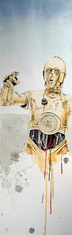 Star Wars Print featuring the painting C3po by David Kraig