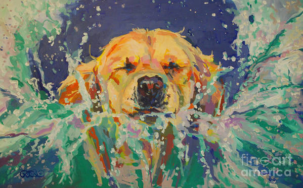 Golden Retriever Print featuring the painting Cannonball by Kimberly Santini