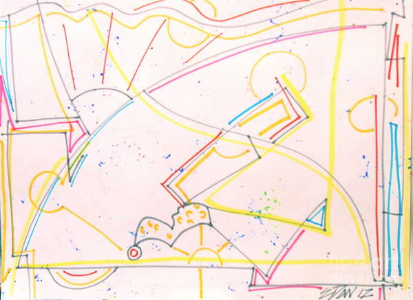 Abstracted Laws Of Physics Print featuring the drawing Cantilever by E Dan Barker