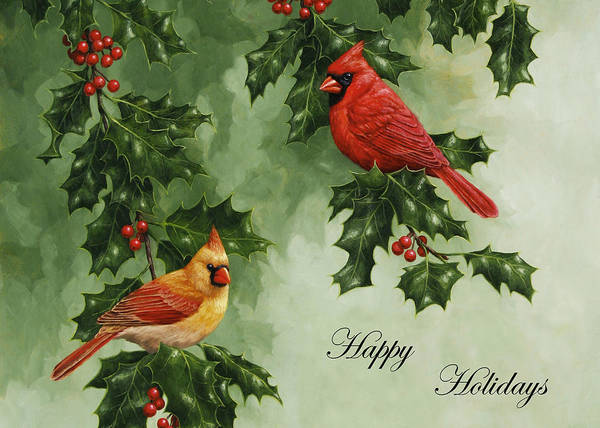Birds Print featuring the painting Cardinals Holiday Card - Version Without Snow by Crista Forest