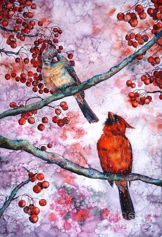 Cardinals Print featuring the painting Cardinals by Zaira Dzhaubaeva