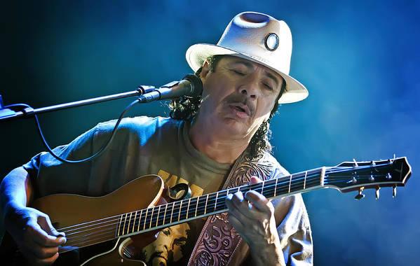 Carlos Santana Print featuring the photograph Carlos Santana On Guitar 3 by The Vault - Jennifer Rondinelli Reilly
