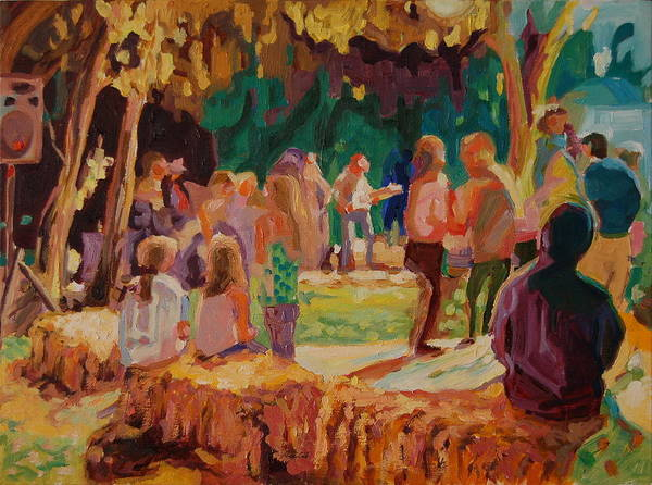 Summer Evening At He Carmel Valley Annual Hoopla Where The Locals And Visitors Enjoy The Outdoors At Night With The Band In The Background Of The Dance Floor Surrounded By Straw Bales - A Very Rural Atmosphere For A Great Barbecue Print featuring the painting Carmel Valley Hoopla by Thomas Bertram POOLE