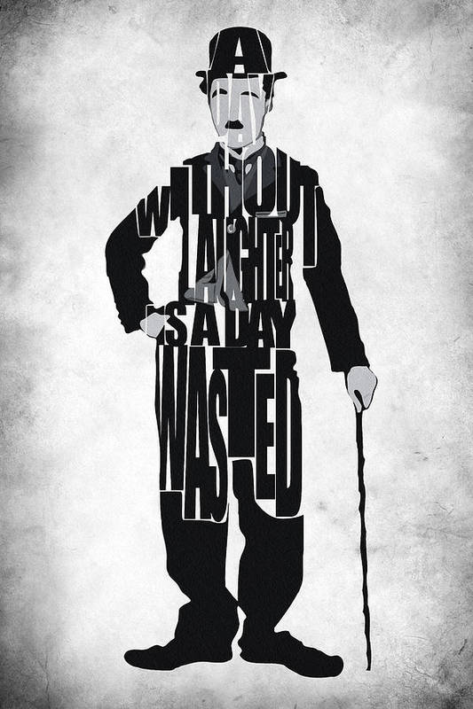 Charlie Chaplin Print featuring the painting Charlie Chaplin Typography Poster by Ayse Deniz