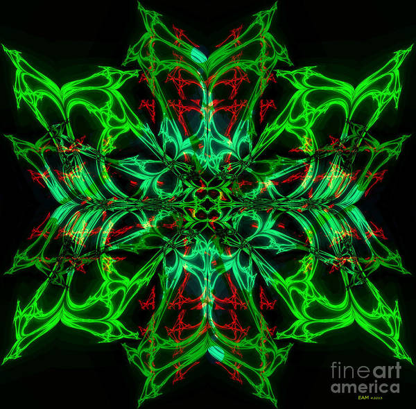 Fractal Art Print featuring the digital art Charlotte's New Freakin' Awesome Neon Web by Elizabeth McTaggart