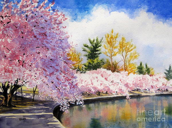 Cherry Trees Print featuring the painting Cherry Blossoms by Shirley Braithwaite Hunt