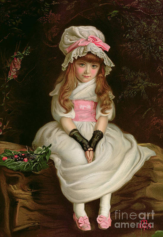 Child Print featuring the painting Cherry Ripe by Sir John Everett Millais