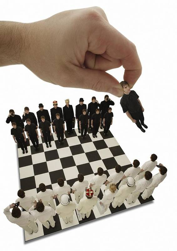 Win Print featuring the photograph Chess Being Played With Little People by Darren Greenwood