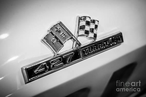 1960's Print featuring the photograph Chevy Corvette 427 Turbo-jet Emblem by Paul Velgos
