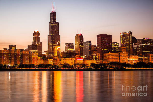 America Print featuring the photograph Chicago Downtown City Lakefront With Willis-sears Tower by Paul Velgos