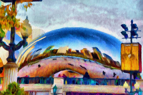Bean Print featuring the painting Chicago Reflected by Jeff Kolker