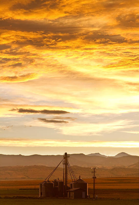 Silos Print featuring the photograph Chicken Farm Sunset 1 by James BO Insogna