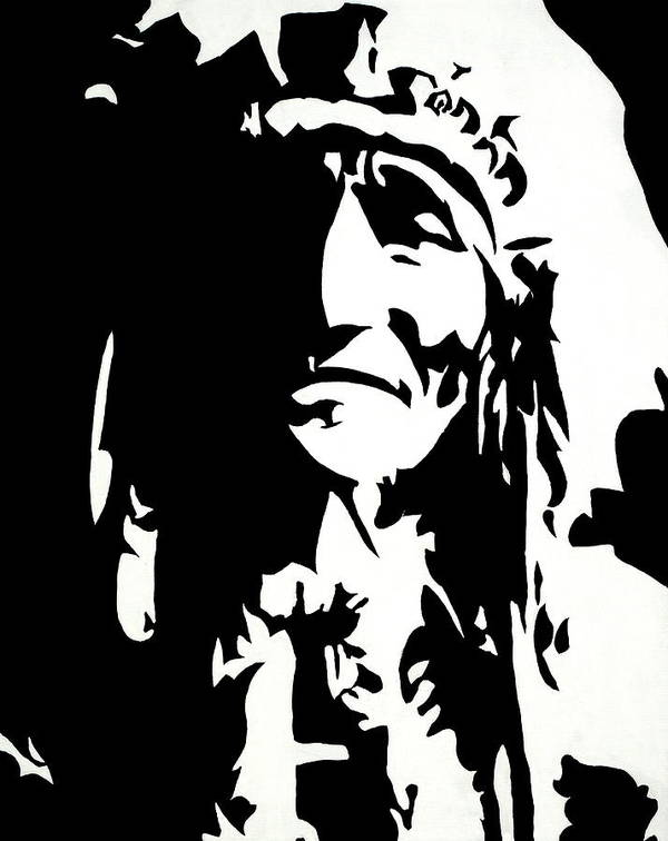 Black And White Print featuring the painting Chief Half In Darkness by HJHunt